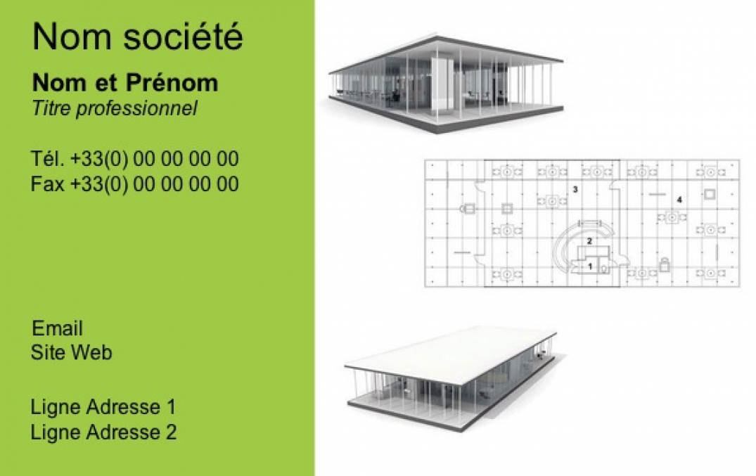 carte de visite construction b timent architecte fond vert. Black Bedroom Furniture Sets. Home Design Ideas