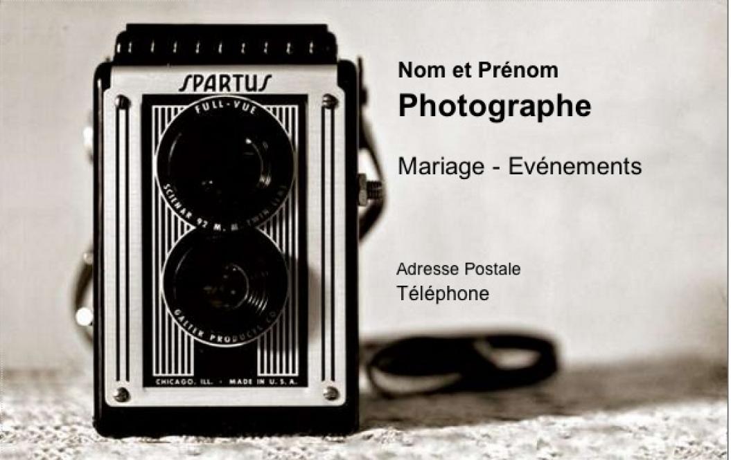 Carte de visite photographe mod le gratuit imprimer forme vintage - Carte de visite gratuite sans frais de port ...